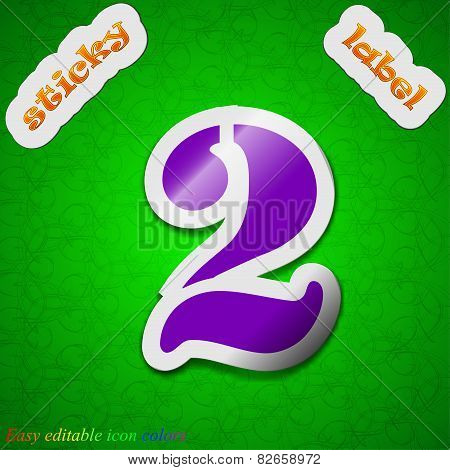 Number Two Icon Sign. Symbol Chic Colored Sticky Label On Green Background. Vector