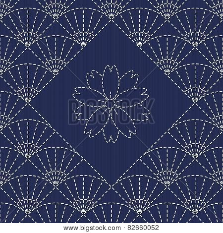 Traditional Japanese Embroidery Ornament with fans and sakura flower. Sashiko. Vector seamless patte