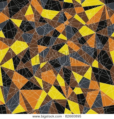 Abstract mosaic pattern with triangles. Seamless vector. Yellow orange colors.