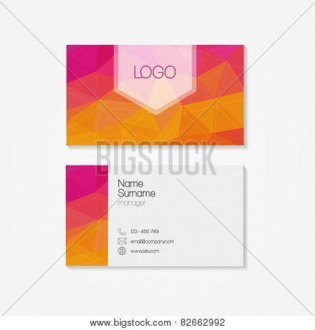trendy business card in modern low polygon style
