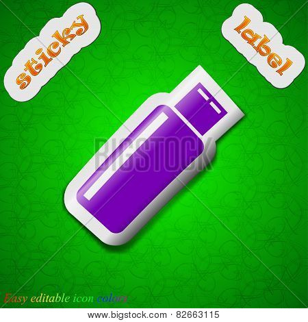Usb Flash Drive Icon Sign. Symbol Chic Colored Sticky Label On Green Background. Vector