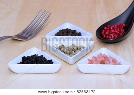 Variety Of Peppercorns And Salt