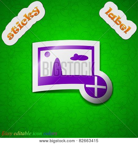 Plus, Add File Jpg   Icon Sign. Symbol Chic Colored Sticky Label On Green Background. Vector