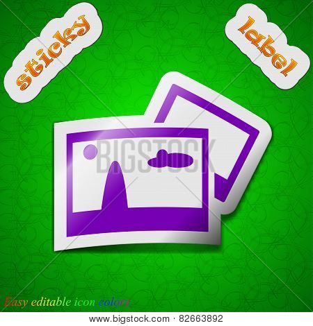 Copy File Jpg  Icon Sign. Symbol Chic Colored Sticky Label On Green Background. Vector