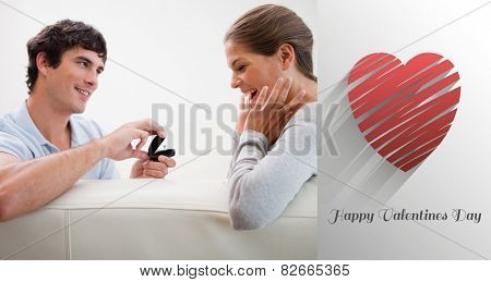 Man making a proposal of marriage against cute valentines message