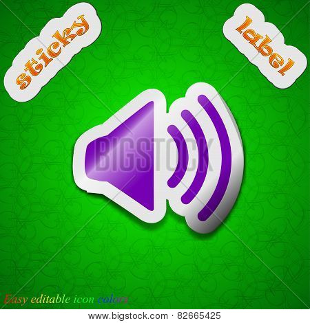 Speaker Volume Icon Sign. Symbol Chic Colored Sticky Label On Green Background. Vector