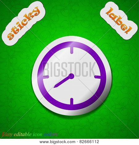 Timer Icon Sign. Symbol Chic Colored Sticky Label On Green Background. Vector