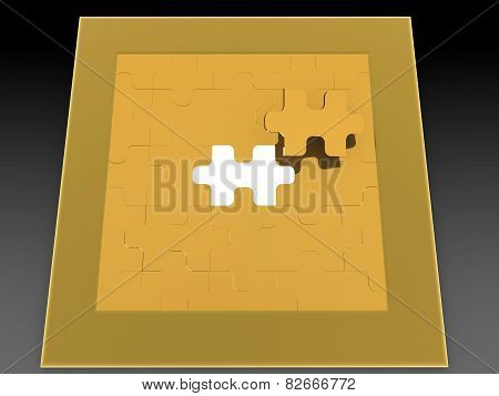 Puzzle in pieces 3d image
