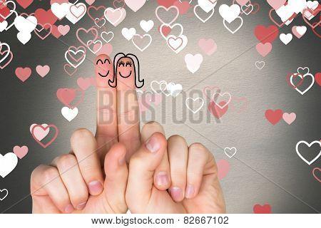 Fingers crossed like a couple against love heart, pattern