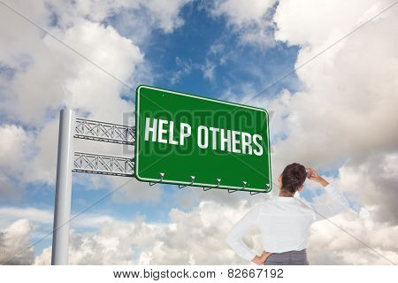 The word help others and businesswoman scratching her head against blue sky with white clouds