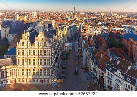 Aerial view of Ghent from Belfry, Belgium.