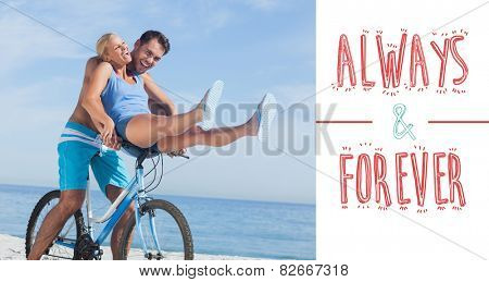 Happy man giving girlfriend a lift on his crossbar against always and forever