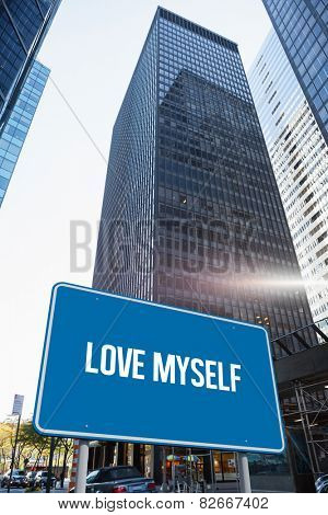 The word love myself and blue billboard against skyscraper in city