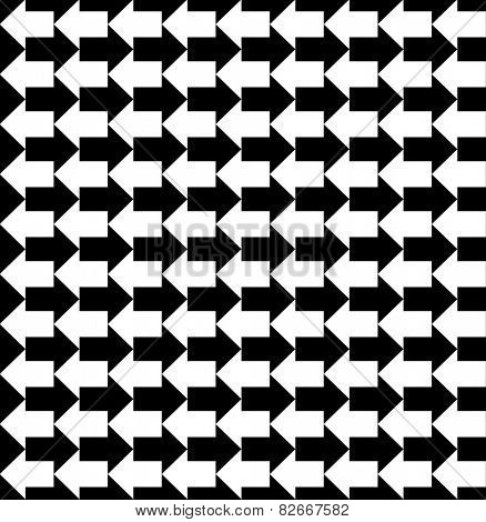 Black and white arrows pointing to opposite directions, a seamless pattern