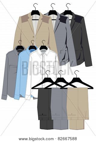 Menswear in classical style on hangers