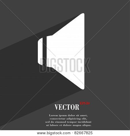 Speaker Volume Icon Symbol Flat Modern Web Design With Long Shadow And Space For Your Text. Vector