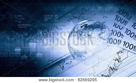 Background image with financial charts and graphs on the table. Elements of this image are furnished by NASA