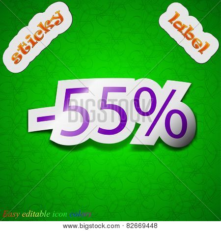 55 Percent Discount Icon Sign. Symbol Chic Colored Sticky Label On Green Background. Vector