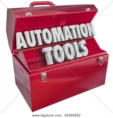Automation Tools 3d letters form word in red metal toolbox to illustrate modern technology to help you increase efficiency and productivity