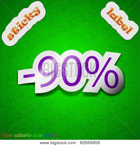 90 Percent Discount Icon Sign. Symbol Chic Colored Sticky Label On Green Background. Vector
