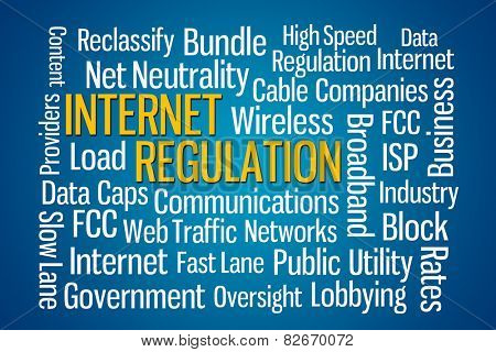 Internet Regulation word cloud with blue background