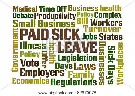 Paid Sick Leave word cloud with white background