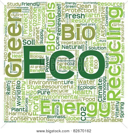 Concept or conceptual text word cloud isolated on background, metaphor to nature, ecology, green, energy, natural, life, world, eco, clean, organic, global, protect, environmental or recycling