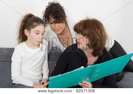 Lovely Grandmother, Daughter And Daughter Smiling On A White Background