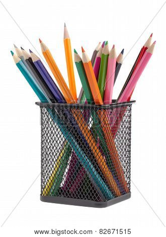 Various Color Pencils In Black Metal Container