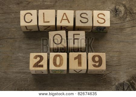 Text Class of 2019 on a wooden background