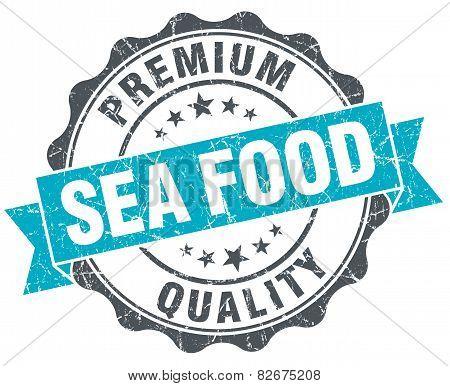 Sea Food Vintage Turquoise Seal Isolated On White