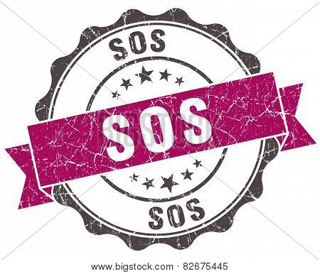 Sos Grunge Violet Seal Isolated On White