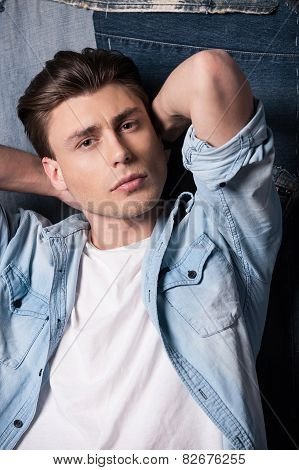 Handsome In Jeans Shirt.