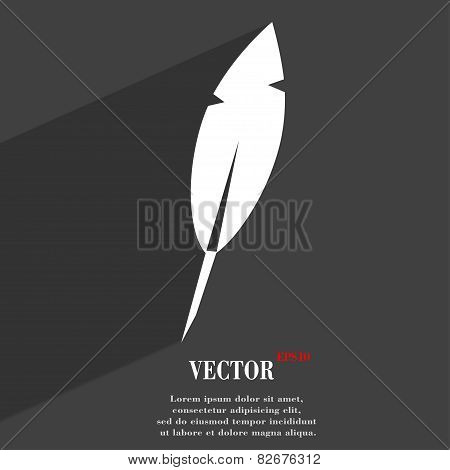 Feather Retro Pen Icon Symbol Flat Modern Web Design With Long Shadow And Space For Your Text. Vecto