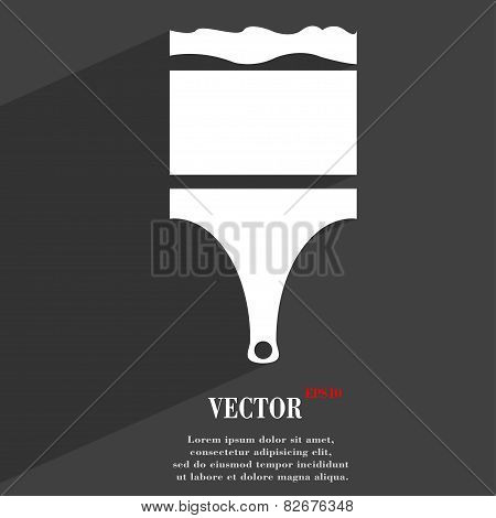 Paint Brush Icon Symbol Flat Modern Web Design With Long Shadow And Space For Your Text. Vector