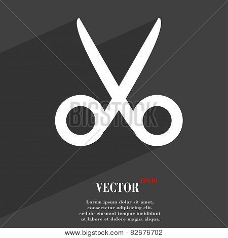 Scissors Hairdresser Icon Symbol Flat Modern Web Design With Long Shadow And Space For Your Text. Ve
