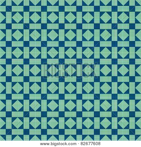 Retro blue-green ornate mosaic seamless plaid