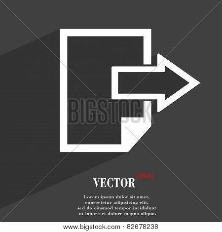 Send Export File Icon Symbol Flat Modern Web Design With Long Shadow And Space For Your Text. Vector