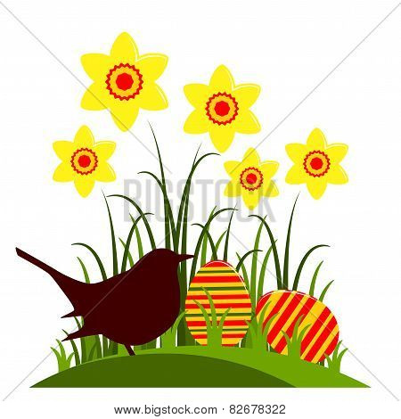Daffodils And Easter Eggs