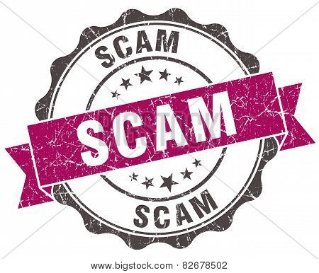 Scam Grunge Violet Seal Isolated On White