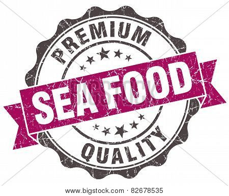 Sea Food Grunge Violet Seal Isolated On White