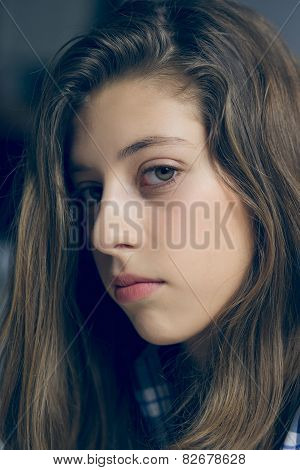 Young Female Teenager Looking Sad