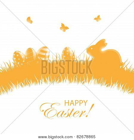 Orange Background With Easter Eggs And Rabbit
