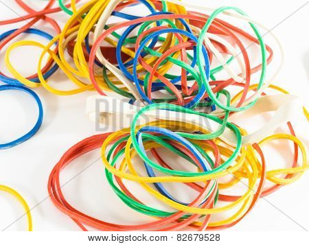 Colorful Rubber Bands Isolated On White