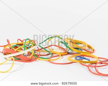 Colorful Rubber Bands IsolatedWhited