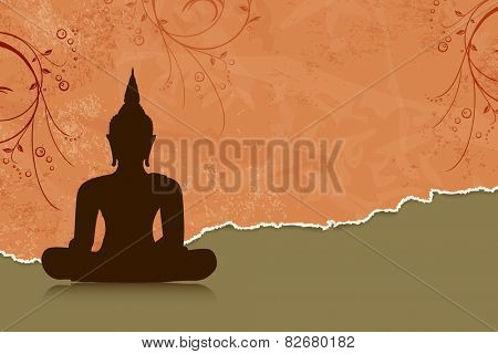 Buddha silhouette against orange flower background