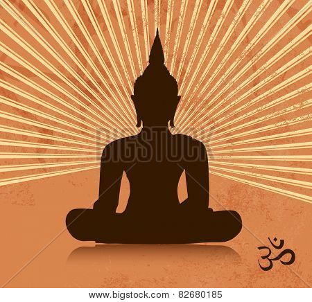 Thai buddha silhouette in lotus position