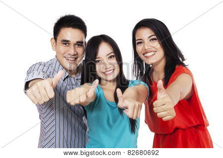 Cheerful Friends Showing Thumbs-up 1