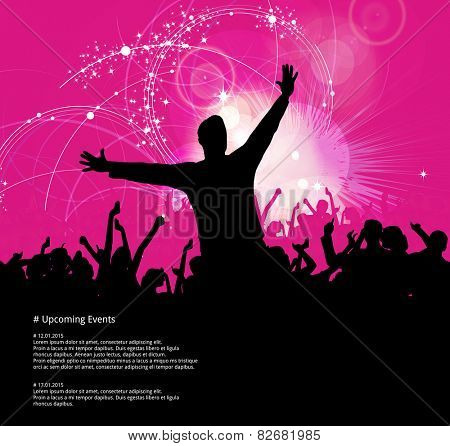 Music background with dancing people. Vector