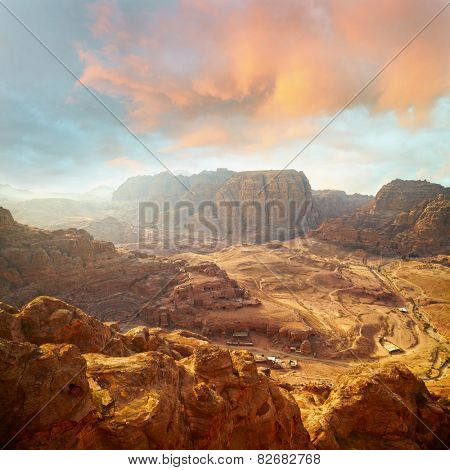 Red rock formations in Petra, Jordan.